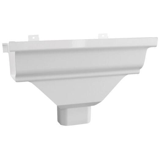 Repla K 5 In. Vinyl White Gutter Drop Outlet