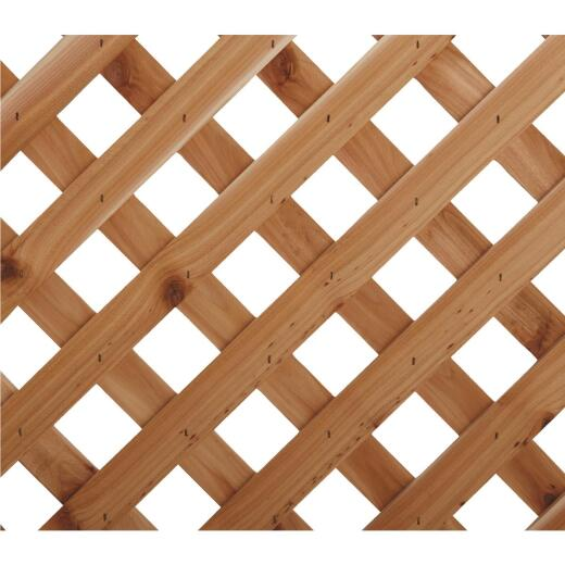 Real Wood Products 4 Ft. W. x 8 Ft. L. x 3/4 In. Thick Natural Cedar Privacy Diamond Lattice Panel