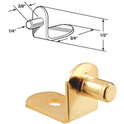Prime-Line 1/4 In. Brass Metal Shelf Support (8-Count)