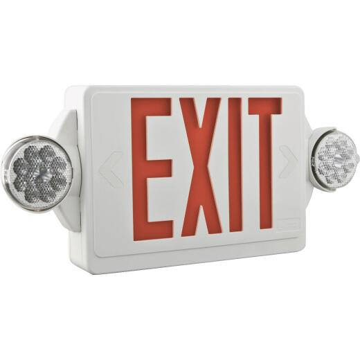Lithonia Quantum Red Lettering Thermoplastic LED Exit Light with Emergency Lights