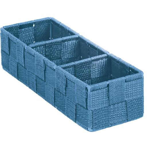 Home Impressions 3.25 In. W. x 2.25 In. H. x 9.5 In. L. Woven Storage Tray, Blue