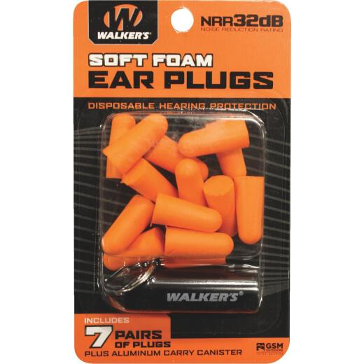 Walker's Soft Foam Neon Orange Ear Plugs (7-Pair)