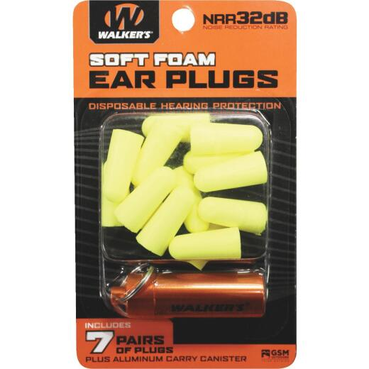 Walker's Soft Foam Neon Yellow Ear Plugs (7-Pair)