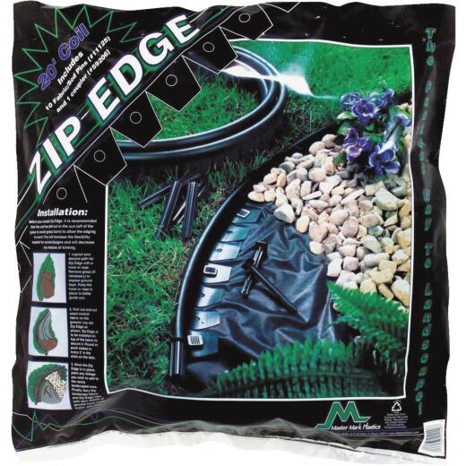 Master Mark Zip Edge 1 In. H. x 20 Ft. L. Black Recycled Plastic Lawn Edging