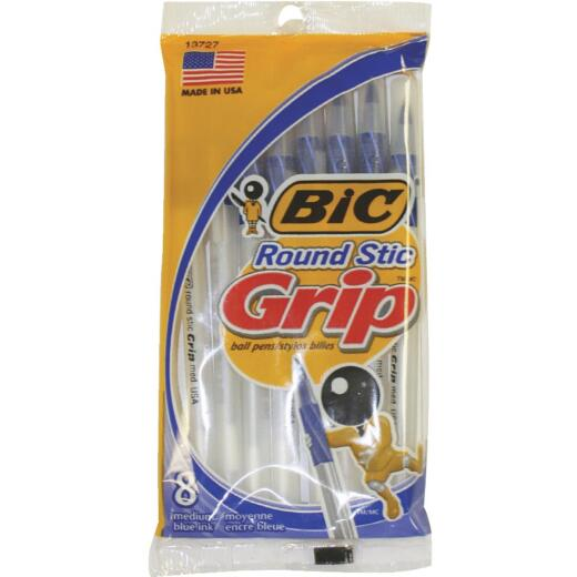 Bic Round Stic Grip Medium Point Blue Pen (8-Pack)