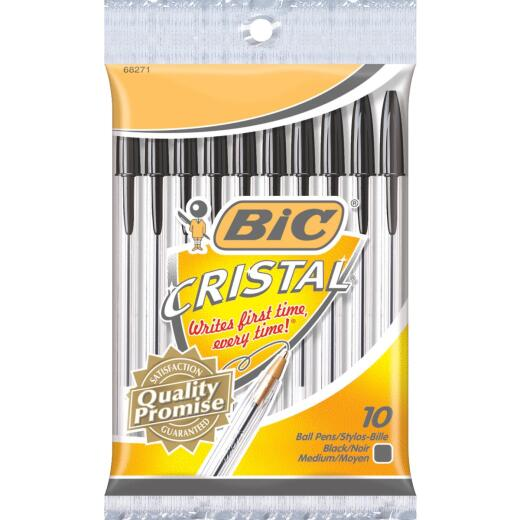 Bic Cristal Medium Point Black Ball Pen (10-Pack)